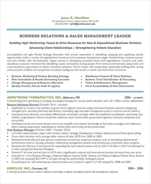 resume templates sales manager
