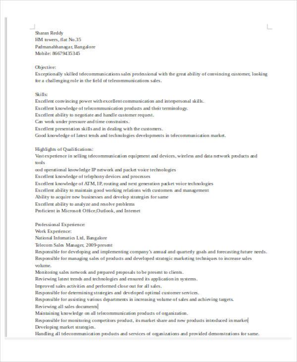 30+ Basic Sales Resume Templates - PDF, DOC Free  Premium Templates - sales coordinator resume
