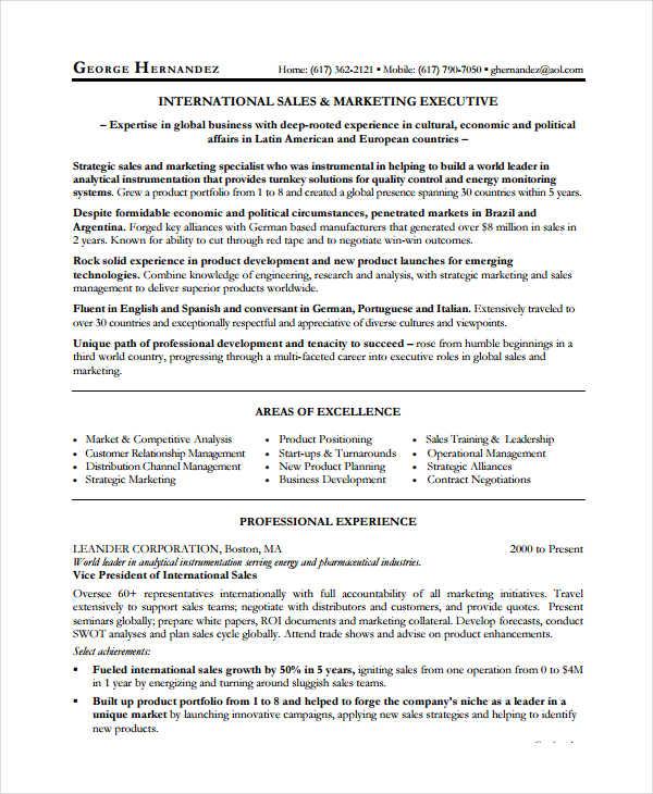 9+ Sales Executive Resume Templates - PDF, DOC Free  Premium