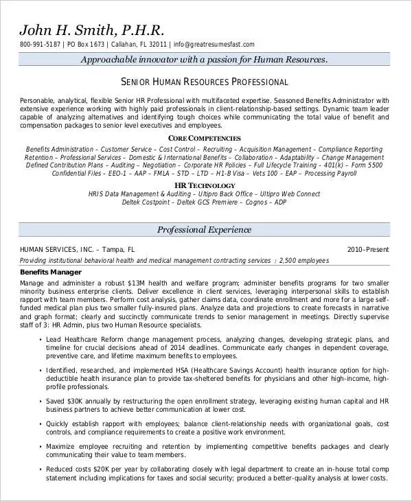 20+ Executive Resume Templates - PDF, DOC Free  Premium Templates