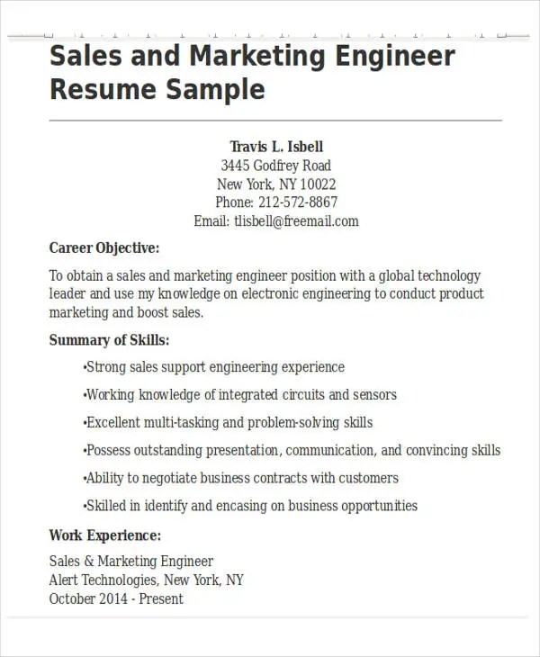 30+ Basic Sales Resume Templates - PDF, DOC Free  Premium Templates - sales support resume