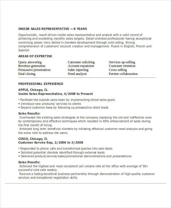 resume template customer service