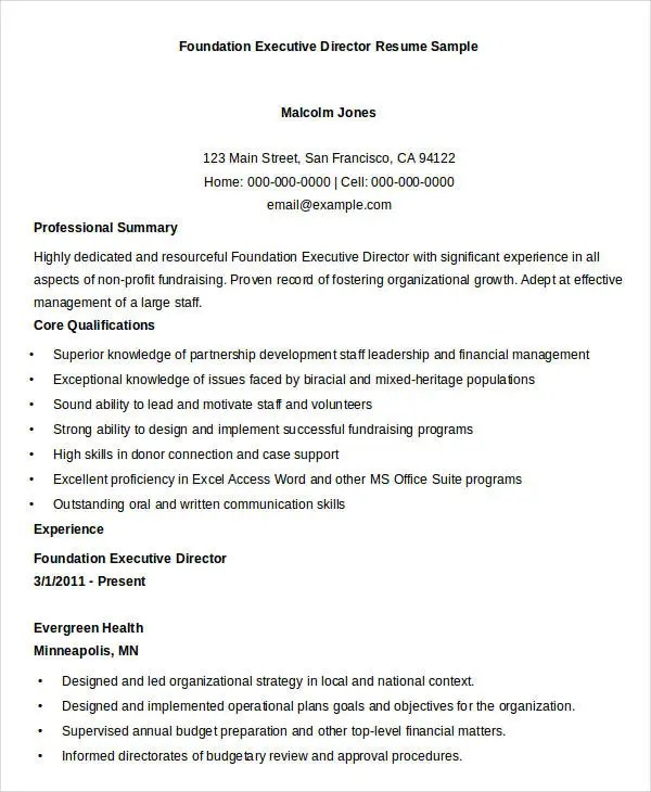 sample executive director resume - Alannoscrapleftbehind - non profit executive director resume