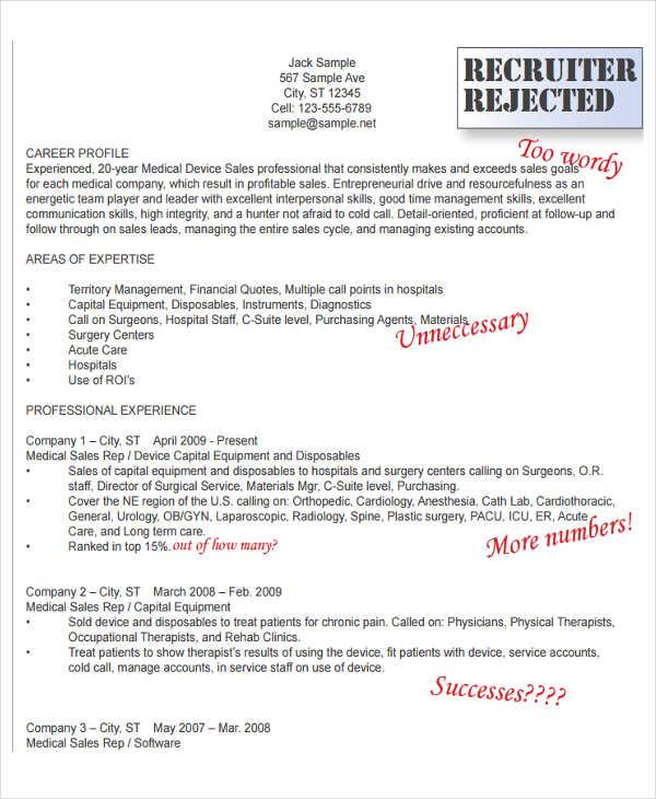 Medical Sales Resume Medical Device Sales Professional Sales - medical sales resume sample