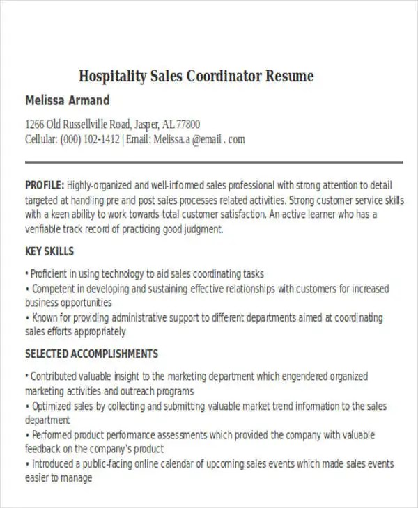 Best Sales Resume Free  Premium Templates - sales coordinator resume