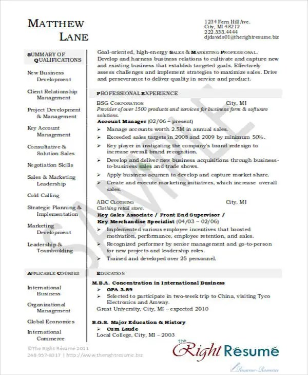 30+ Printable Sales Resume Templates - PDF, DOC Free  Premium - sales account manager resume