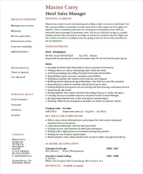 Wonderful Hotel General Manager Resume    In Professional Resume     Sample and Example Resume