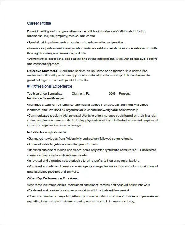 resume templates for medical device sales