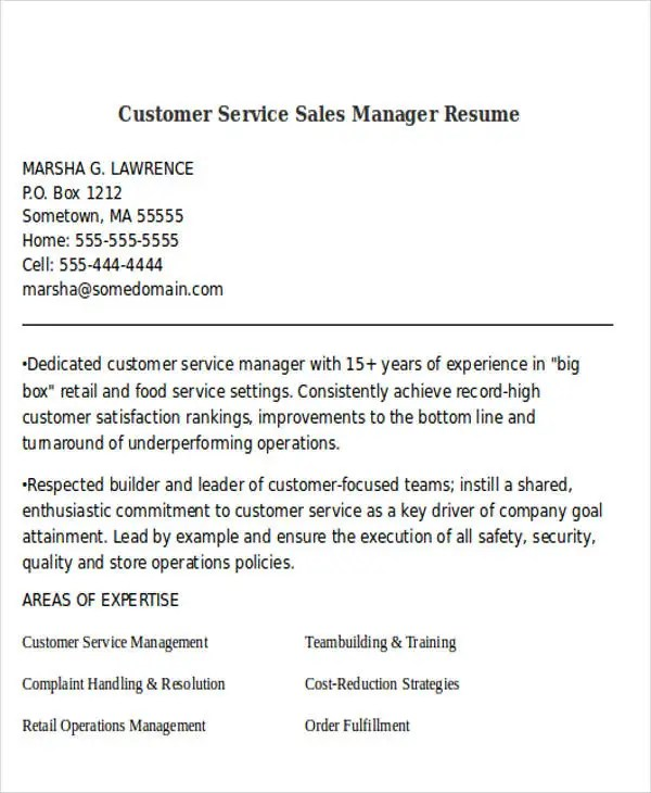 Retail customer service manager resume