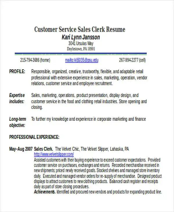 resume for customer service sales