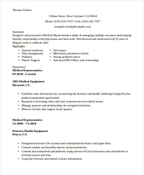 resume examples resume examples for any job esl teacher sample - medical sales resume sample