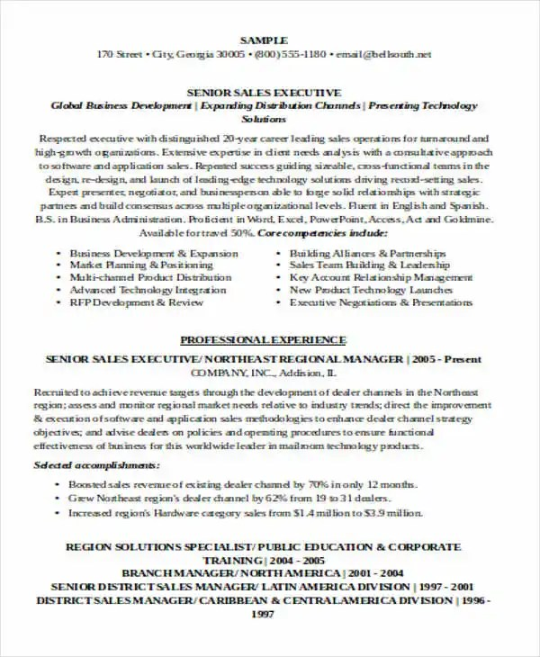 Sales Executive Resume Examples Free enterprise sales executive - sales resumes examples