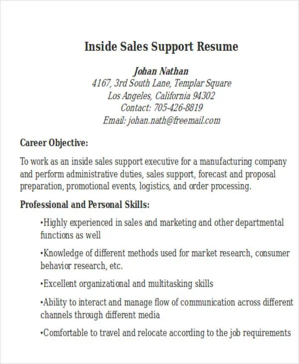 sample inside sales resumes - Selol-ink - Inside Sales Resume