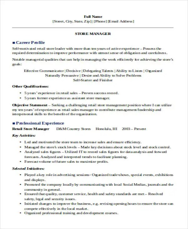 resume examples for retail management sample resume retail