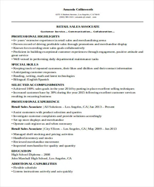 Descriptive Writing Assignment Marshalls Sales Associate Resume
