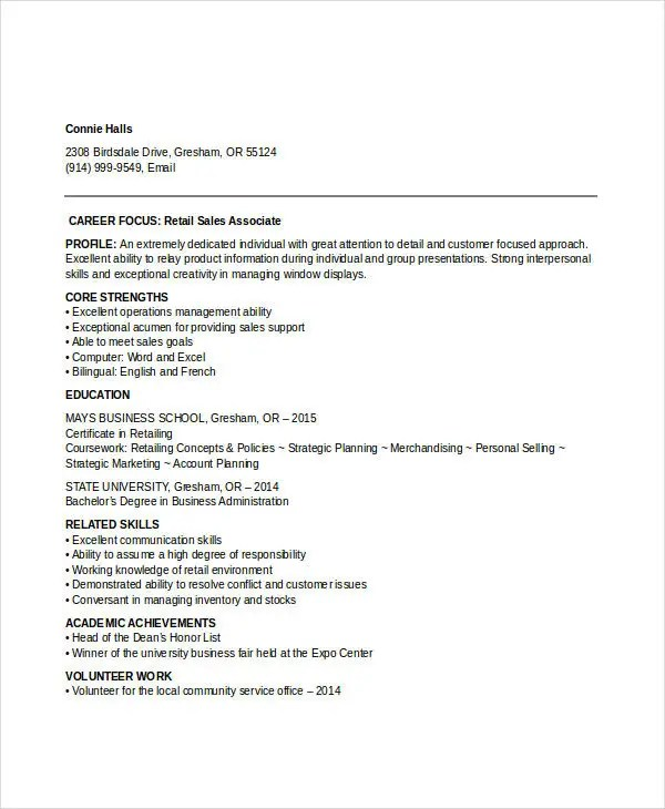 18+ Professional Sales Resume Templates - PDF, DOC Free  Premium - entry level retail resume
