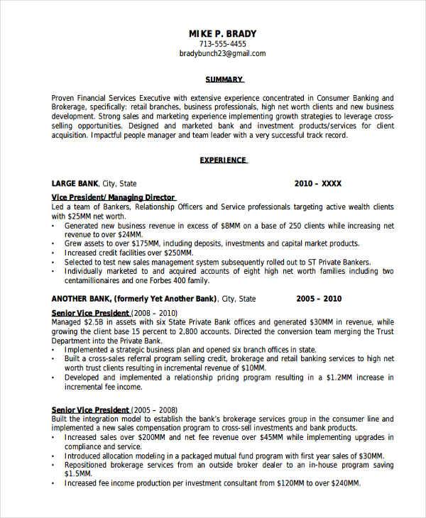 keywords on resume for banking