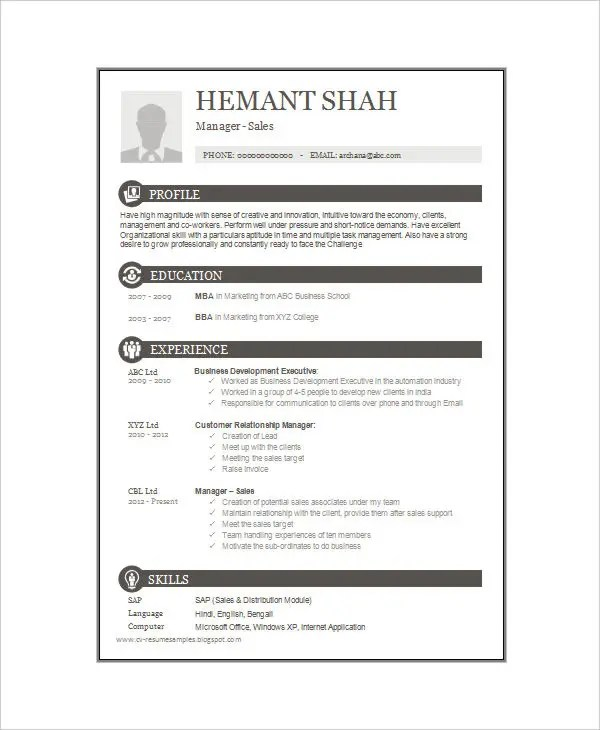 One Page Resume Templates Modern One Page Resume 9+ One Page - one page resumes examples
