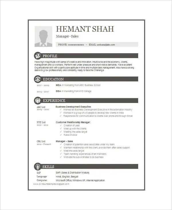 one page resume template for freshers
