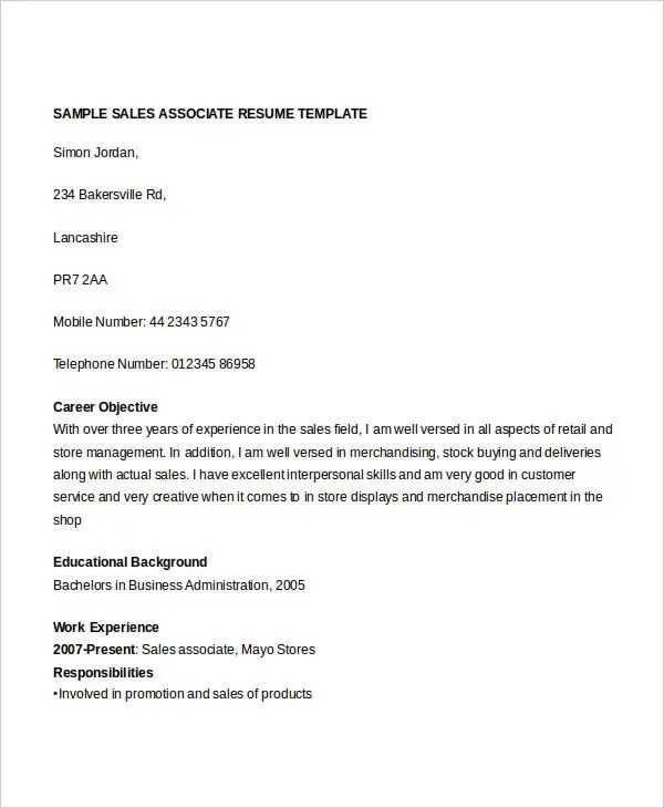 Free Sales Resume - 47+ Free Word, PDF Documents Download Free - sample sales associate resume
