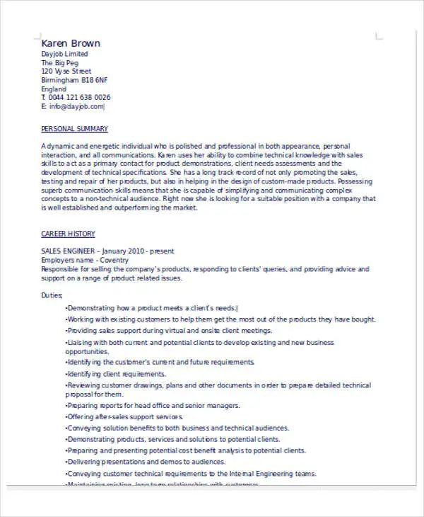 field engineer sample resume doc
