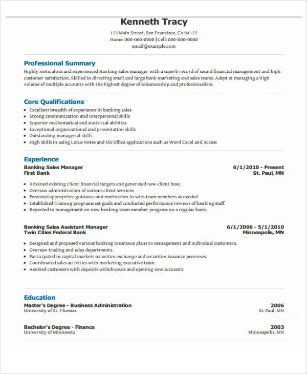 Resume Format For Banking. Banking Resume Samples Visualcv Resume