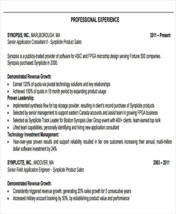 18+ Sales Resume Templates in PDF Free  Premium Templates - Field Application Engineer Sample Resume