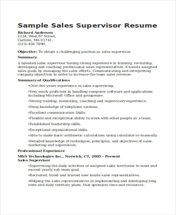 sales supervisor resume - Onwebioinnovate