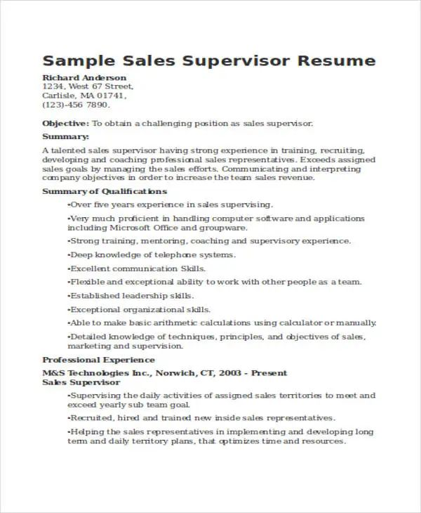 resume template sales associate