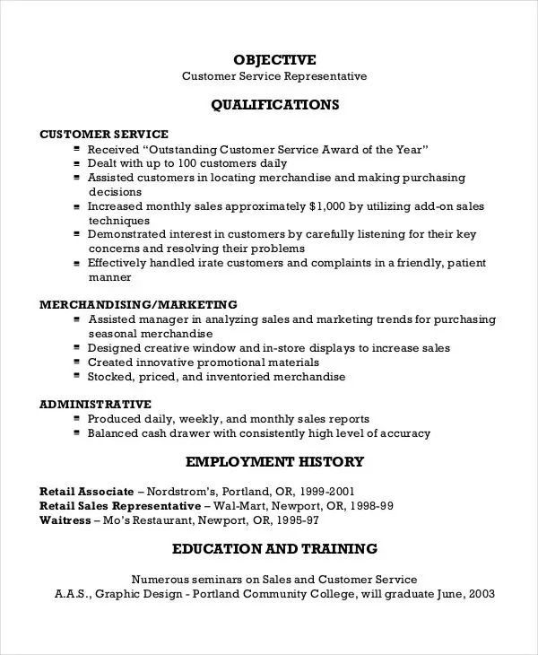 resume of customer service representative