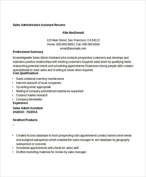 8+ Sample Sales Assistant Resumes - Free Sample, Example Format - Sales Administration Sample Resume