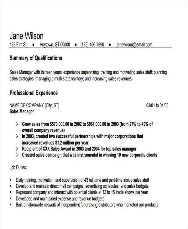 18+ Sales Resume Templates in PDF Free  Premium Templates - campground manager sample resume