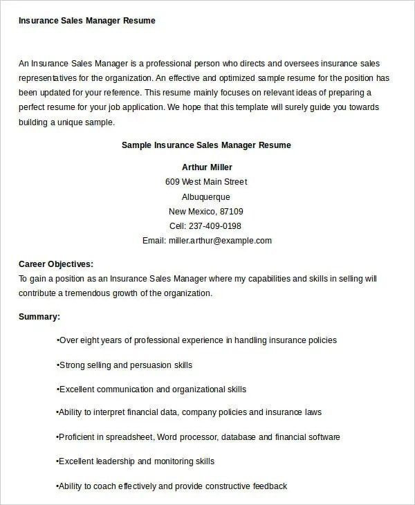 Sales Resume Template - 24+ Free Word, PDF Documents Download Free - insurance sales representative sample resume