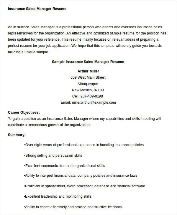 free sample of sales manager resume