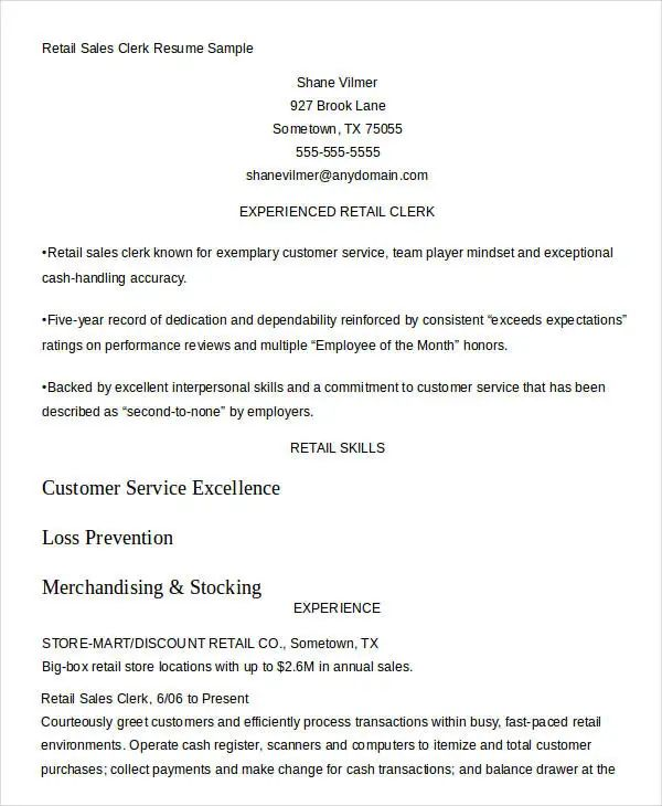 sample resume sales manager retail