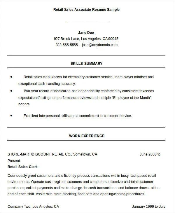 retail sales clerk resume example