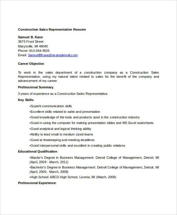 construction sales resume - Onwebioinnovate