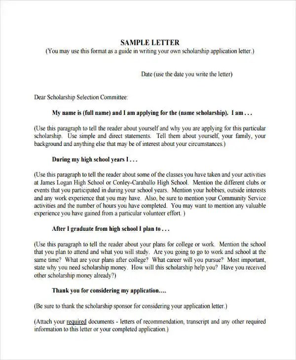 high school scholarship application letter thank you letters to