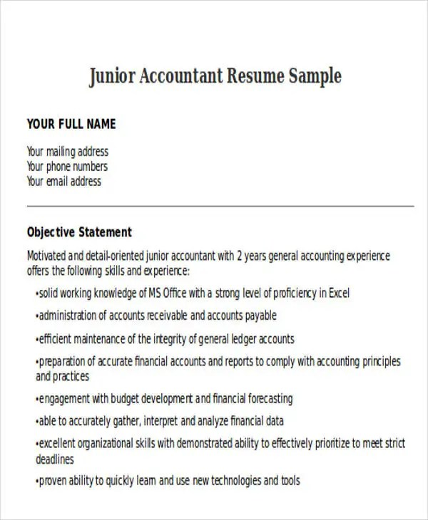 resume format for accountant doc - Vatozatozdevelopment