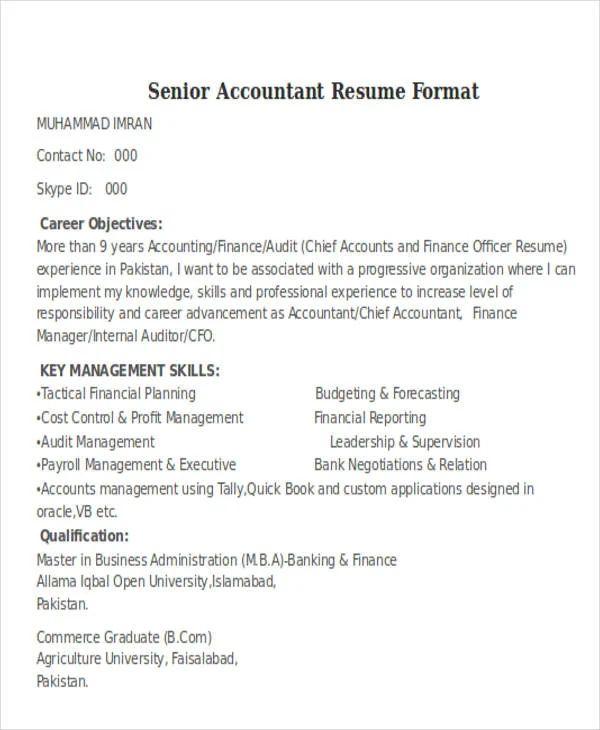 best senior accountant resume template