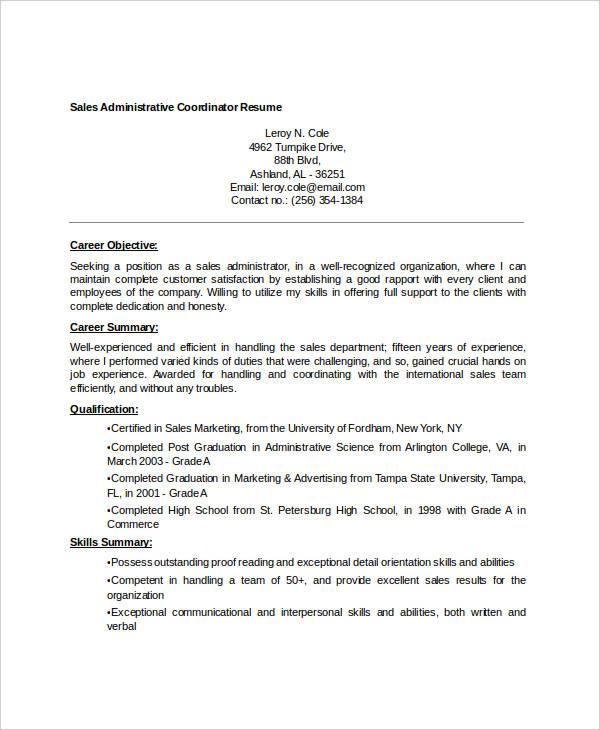 30+ Free Sales Resume Templates - PDF, DOC Free  Premium Templates