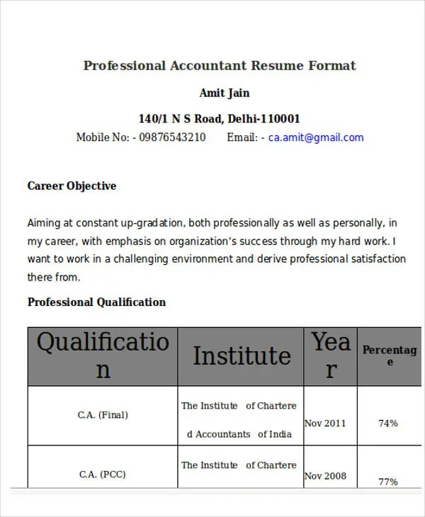 33+ Accountant Resumes in Doc Free  Premium Templates