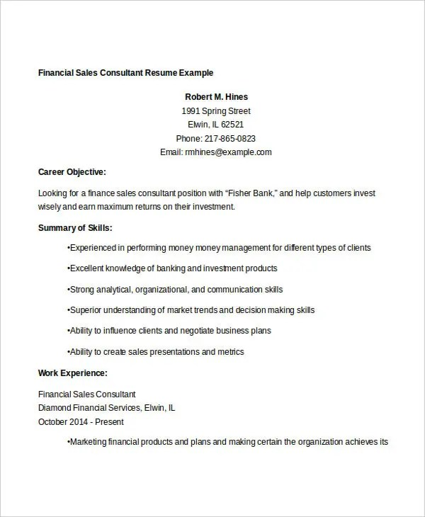 30+ Free Sales Resume Templates - PDF, DOC Free  Premium Templates - financial sales consultant sample resume