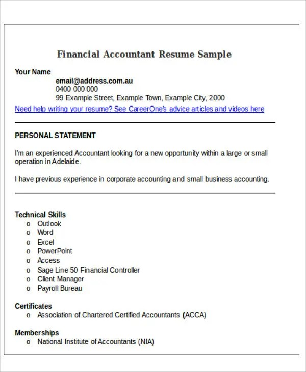 33+ Accountant Resumes in Doc Free  Premium Templates - business accountant sample resume