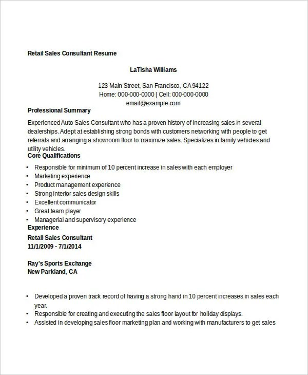 Sales and marketing consultant resume