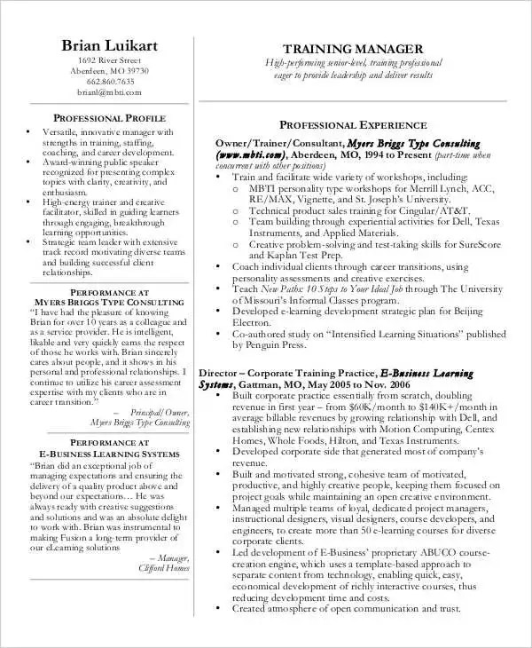 30+ Free Sales Resume Templates - PDF, DOC Free  Premium Templates - Training Manager Resume