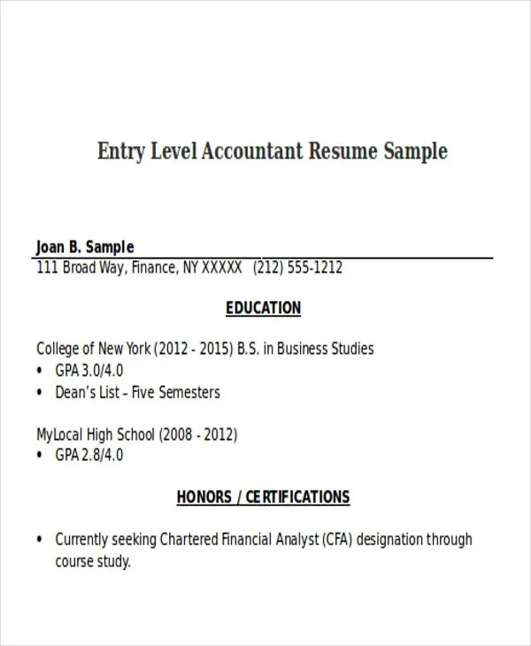 33+ Accountant Resumes in Doc Free \ Premium Templates - entry level accounting resume objective
