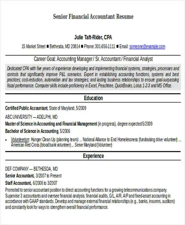 sample senior accountant resume