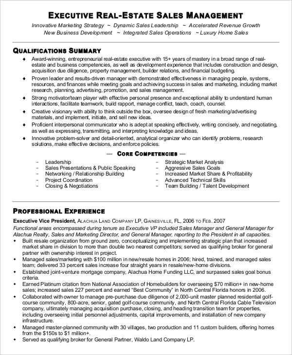 real estate sales associate sample resume