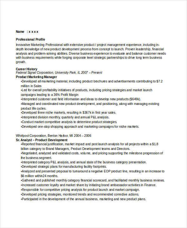 22+ Marketing Resume Templates in Word Free  Premium Templates